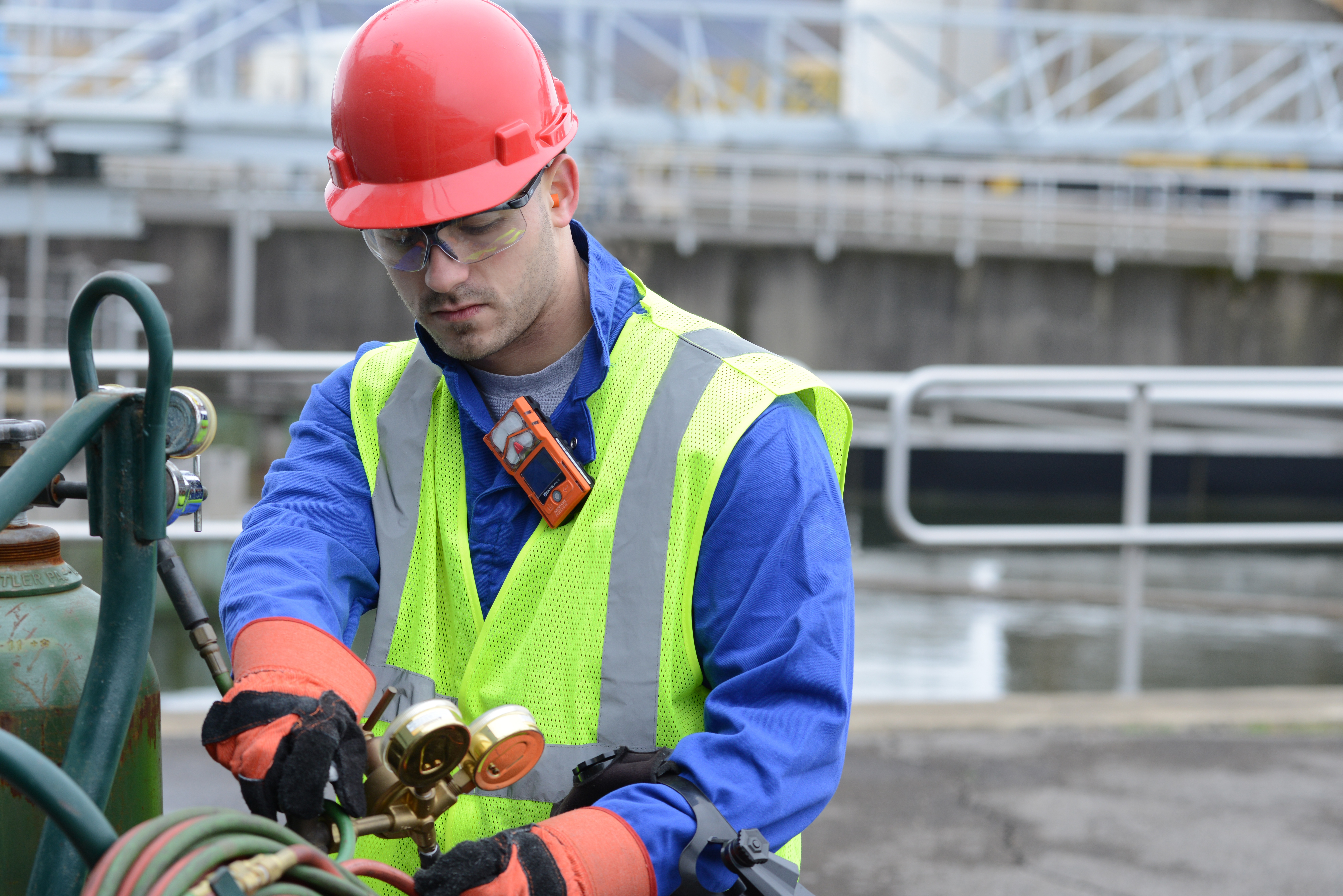 Safety Professional Using Gas Monitor and Other Instrumentation Rented from Orr Safety